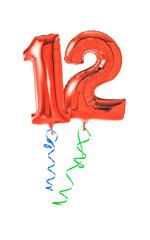 Rote Luftballons mit Geschenkband - Nummer 12