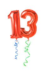 Rote Luftballons mit Geschenkband - Nummer 13