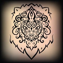 Lion head. Ethnic pattern.