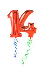 Rote Luftballons mit Geschenkband - Nummer 14