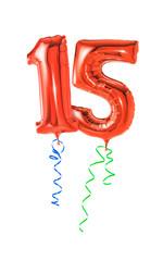 Rote Luftballons mit Geschenkband - Nummer 15