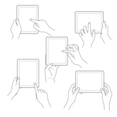 Set of tablet screen with hands Vector