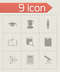 Vector black education icon set