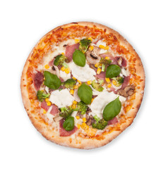 Italian pizza on white background