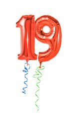 Rote Luftballons mit Geschenkband - Nummer 19