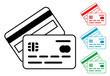 Pictograma pago con tarjeta con varios colores.