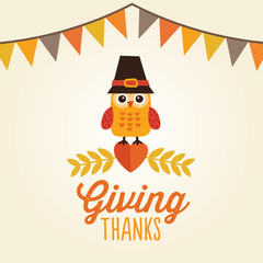 happy thanksgiving card with owl in pilgrim hat giving thanks
