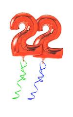 Rote Luftballons mit Geschenkband - Nummer 22