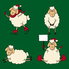 New year set of the sheeps and lambs on a green background