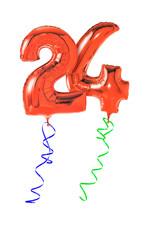 Rote Luftballons mit Geschenkband - Nummer 24