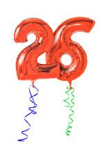 Rote Luftballons mit Geschenkband - Nummer 26