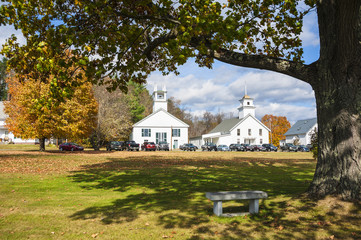 Herbst, Guildhall, Vermont, USA. Church, Courthouse