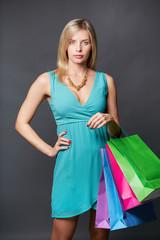 Shopper in blue dress