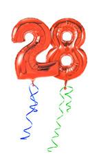 Rote Luftballons mit Geschenkband - Nummer 28