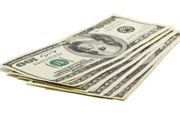 Hundred dollar bills US on white background