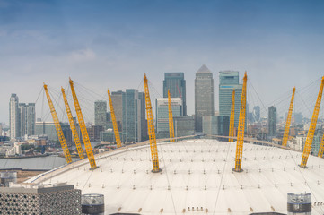 Stunning Canary Wharf financial district skyline in London