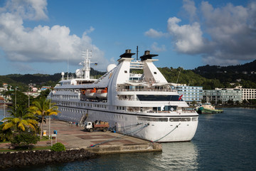 Small White Cruise Ship in St Lucia Bay