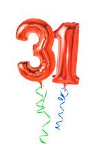 Rote Luftballons mit Geschenkband - Nummer 31