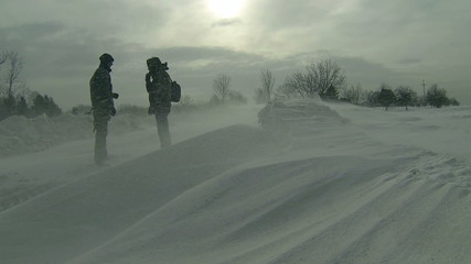 Two Man in Snowstorm