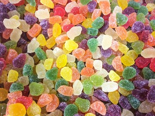 Colorful sugar coated jelly candies