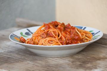 pasta,italian spaghetti with sauce and sausage