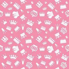 Cute seamless pattern with different crowns.