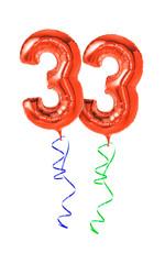 Rote Luftballons mit Geschenkband - Nummer 33