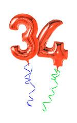 Rote Luftballons mit Geschenkband - Nummer 34