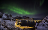 Fototapeta Northern lights over Reine, Norway