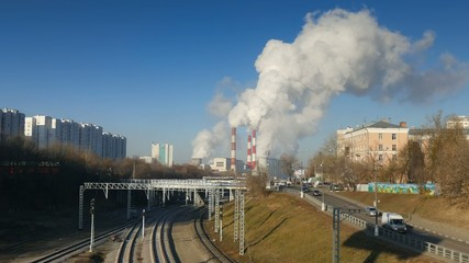 Termal power station, time lapse