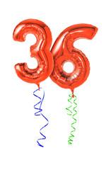 Rote Luftballons mit Geschenkband - Nummer 36