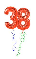 Rote Luftballons mit Geschenkband - Nummer 38
