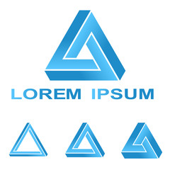 Blue Penrose triangle logo design set