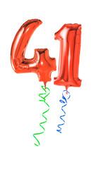 Rote Luftballons mit Geschenkband - Nummer 41