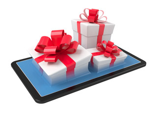 Gift boxes on a tablet pc.