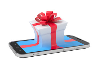 Gift box on smartphone.