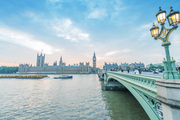 Westminster Bridge and Houses of Parliament at dusk - London