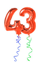 Rote Luftballons mit Geschenkband - Nummer 43