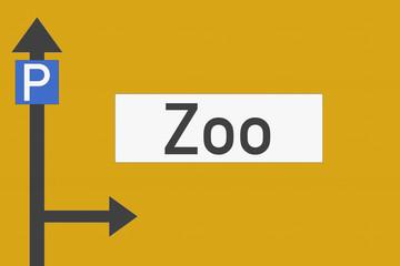 Richtungsschild Zoo