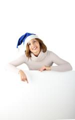 Christmas woman shows sign