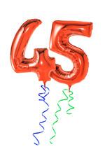 Rote Luftballons mit Geschenkband - Nummer 45