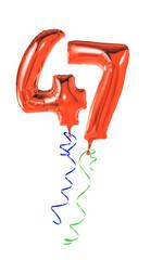 Rote Luftballons mit Geschenkband - Nummer 47