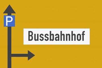 Richtungsschild Bussbahnhof