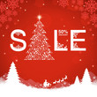 Christmas sale on red background