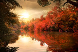 Fototapety Autumn sunset over river