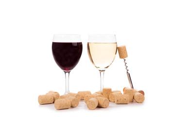 Wine glasses and corkscrew.