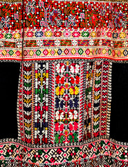 Hand embroidered female folk costume, fragment
