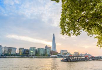 Wonderful panoramic view of London buildings along river Thames