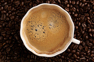 Cup of coffee. Top view
