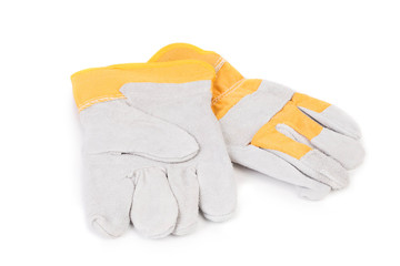Construction gloves yellow white.